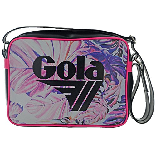 BORSA TRACOLLA GOLA midi REDFORD LEAVES CUB988 BLACK HOT PINK cod. 15529