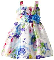 Youngland Girls 2-6X Water Color Floral Tulip Woven Dress, Multi, 2T