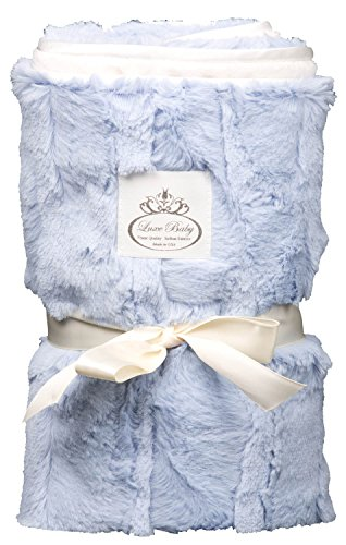 LUXE BABY Cloud Faux Fur Stroller Blanket, Charcoal/Blue - 1