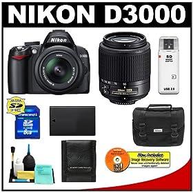 Nikon D3000 10MP Digital SLR Camera with 18-55mm f/3.5-5.6G AF-S DX VR Nikkor Zoom Lens & 55-200mm DX Zoom Lens with 8GB Card + EN-EL9a Battery + Nikon Gadget Bag + Accessory Kit