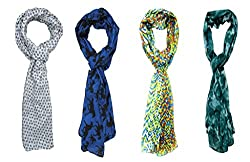 Printed Multi-Color Stoles Combo For Girls And Woman By Slover