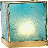 Luna Bazaar Capiz Cube Tea Light Candle Holder (3-Inch, Turquoise Blue, Gold-Edged)