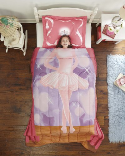 Dream Factory Ballerina Ultra Soft Microfiber 2-Piece Comforter Sham Set, Pink, Twin