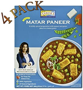 Ashoka Microwaveable Ready to Eat Meals - Matar Paneer Mildly Spiced Paneer with Green Peas in a Creamy Gravy (Pack of 4)