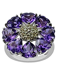 Carillon India Amethyst Heart Ring Diamond Silver Ring