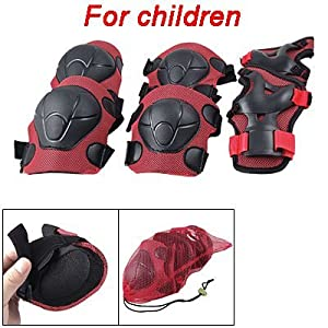 Kids Skating Gear Knee Elbow Wrist Pads Protector Red Black