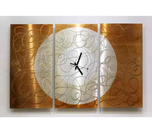Autumn Moon Metal Abstract Wall Clock, Large Three Panel Wall Clock in Golden Orange Tones