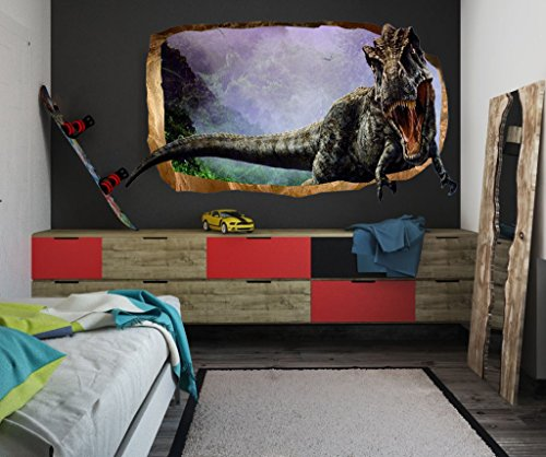 Startonight 3D Mural Wall Art Photo Decor Jurassic Dinosaur World Ii Amazing Dual View Surprise Large 47.24 Inch By 86.61 Inch Wall Mural Wallpaper or Bedroom Kids Space (Multi 112) (Boy Personalized Wall Murals compare prices)