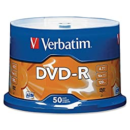 VER95101 - Verbatim AZO DVD-R 4.7GB 16X with Branded Surface - 50pk Spindle