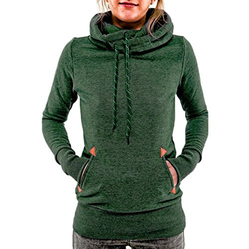 AJ FASHION Women's Funnel Neck Hoodie Lightweight Pullover Hooded Sweatshirts, Green, US M=Tag L (Cowl Hoodie compare prices)