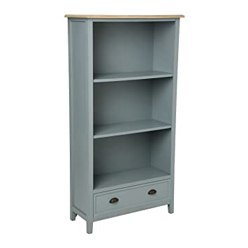 Bibliothèque campagne 1 tiroir en bois gris Damian (L.85xl.34xH.160cm)