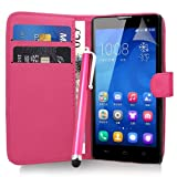 Huawei Honor 3C - Pink Exclusive Easy Clip on Premium PU Leather WALLET / FLIP Case Cover Pouch + Clear Screen Protector + Microfiber Cleaning Cloth by Excellent Accessories
