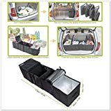 Deler Foldable Multi Compartment Fabric Car Truck Van SUV Storage Basket Trunk Organizer and Cooler Set