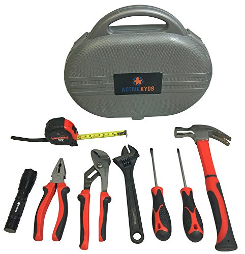 Active-Kyds-9-Piece-Kids-Tool-Set-with-Real-Tools-Fiberglass-Hammer-Tape-Measure-Pliers-Screwdrivers-LED-Flashlight-Adjustable-Wrench-and-Pliers-and-Carry-Case