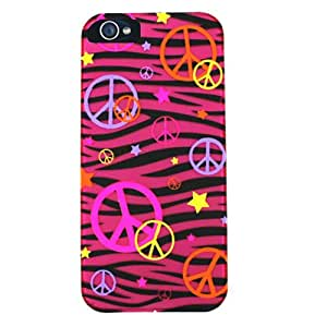 Cell Armor Hybrid Fit-On Case for iPhone 5 - Retail Packaging - Transparent Design/Colorful Peace Signs on Pink Zebra