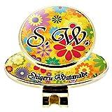 ハンドメイド オリジナル カラー ゴルフ マーカー ボール マーク お洒落 でカラフルな 花柄1 ネーム 名入れ ホールインワン 記念品 コンペ 景品