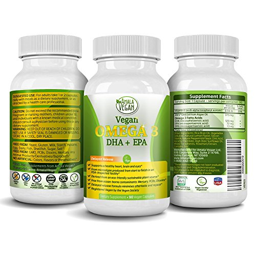 Potent Vegan Omega 3 Supplement w/ Essential Fatty Acids, Vitamin E, DHA & EPA - Vegetarian Algae based & Non GMO Time-Release Capsules - Improve Eye, Heart, & Brain Health - Better than Fish Oil - by Amala Vegan (Top Omega 3 Supplements compare prices)