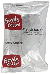 Boyds Coffee French No. 6, Ground Dark Roast Coffee, 3-Ounce Portion Packs (Pack of 40)