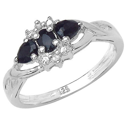 The Sapphire Ring Collection: Ladies Sterling Silver Black Sapphire & Diamond Ring Engagement Ring (Size P)
