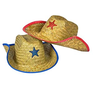 Childs Straw Cowboy Hat With Plastic Star (1 DOZEN) - BULK