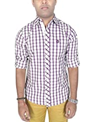 AA' Southbay Men's Lilac Checks 100% Cotton Long Sleeve Casual Shirt