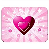 Pink Hearts & Flowers With Flying Butterflies Premium Quality Thick Rubber Mouse Mat Pad Soft Comfort Feel Finish