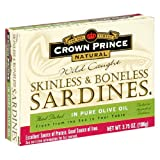 51FPS4FKJFL. SL160  Crown Prince Natural Skinless &amp; Boneless Sardines in Pure Olive Oil, 3.75 Ounce Cans (Pack of 12)