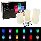 "WYZworks LED Ivory Flickering Flameless Candles - Set of 3 (4"" 5"" 6"") Multicolor Changing with Remote Control Weatherproof Indoor & Outdoor"