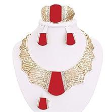 buy Moochi 18K Gold Plated Red Acrylic Necklace Earrings Ring Bracelet Jewelry Set