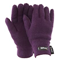 FLOSO® Ladies/Womens Thinsulate Thermal Knitted Gloves (3M 40g) (One Size) (Purple)