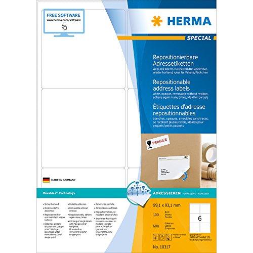 Herma 10317 Étiquettes movables/amovibles 99,1 x 93,1 A4 600 pièces Blanc