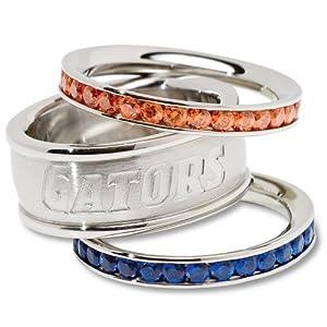 NCAA Florida Gators Logo Crystal Stacked Ring Set by Logo Art