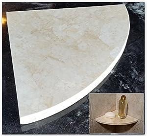 "Amazon 8"" Marble Shower Corner Shelf Crema Sunset"