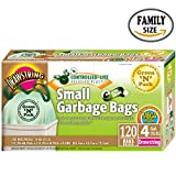 Green N Pack Small Garbage Bags, Drawstring Bags, 4 Gallon, 120-Count