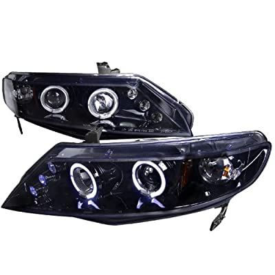 3dr Smoke Dual Halo LED Projector Headlights Lamps Fit Honda 92-95 Civic 2dr