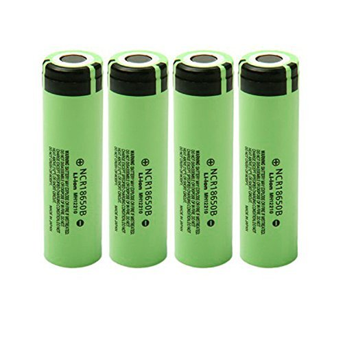 NCR18650B 3.7 Volt 18650 3400 mAh Rechargeable Li-ion Battery for Panasonic 4-PACK With BONUS 2 Hard Plastic Carrying Cases for Easy Storage and Transport (Panasonic 3400mah Ncr18650b compare prices)