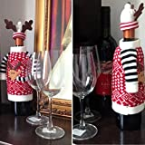 Archie Benson 2Pcs Santa Claus Christmas Red Wine Bottle Sets Cover with Christmas Hat and Clothes for Christmas Decoration Home Halloween Gift Wine Bottle Jacket Bag with Archie Benson Package