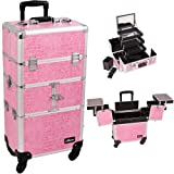 29.5 inch Pink Faux Crocodile Print Professional 360 Degree Rotating Wheels Aluminum Travel Makeup Organizer Train Case by MyGift