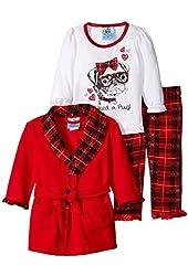 Baby Bunz Baby Girls' 3 Piece Pug Plaid Robe and Pajama Set