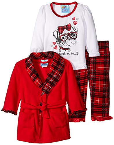 Baby Bunz Baby Girls' 3 Piece Pug Plaid Robe and Pajama Set, Red, 18 Months