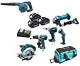 Makita 18V LXT Li Ion LXT600 6 Piece Kit And BUB182 BUB182Z BUB182Rfe Blower