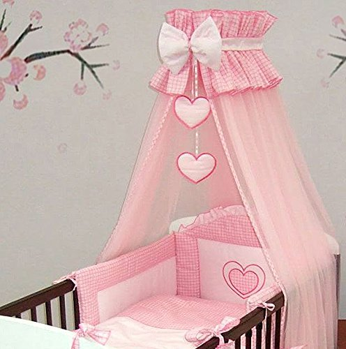 10-Piece-Embroidered-Baby-Canopy-Bedding-Set-For-Cot-to-fit-COT-120x60cm-HEATRS-PINK