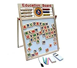 Multipurpose Double-Sided Magnetic Wooden Writing Drawing Board with Abacus, Mathematical Calculations& English Alphabets