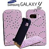 Glitzer Flipstyle Handytasche mit Hartschale für Samsung Galaxy Y S5360 mit Magnetverschluss + Aufkappfunktion Rosa