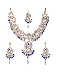 Bel-en-teno Blue & White Alloy Necklace Set For Women