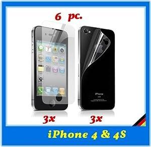 6 x Films de protection d'écran pour Apple iPhone 4 / 4G / 4S 3x Avant + 3x Arrière pour iPhone 4 4s 4G