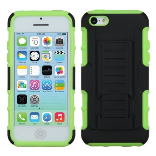 Asmyna Car Armor Stand Rubberized Protector Cover For Apple Iphone 5C- Retail Packaging - Black/Electric Green