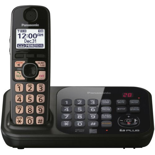 Panasonic KX-TG4741B DECT 6.0 Cordless Phone with Answering System, Black, 1 Handset