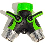 Garden Guru Lawn And Garden Tools Two-Way Hose Connector Y-Valve - Large Valve Handles And Over-Size Coupling...
