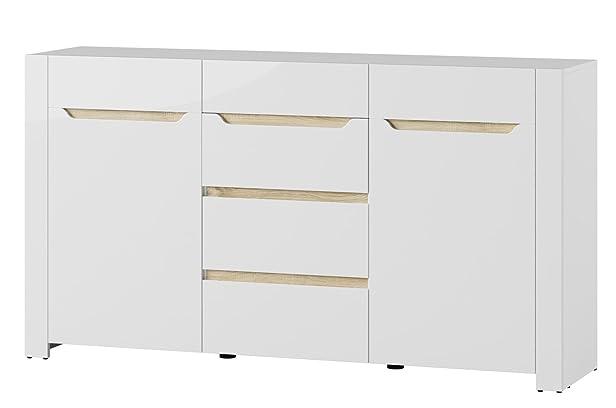 Madia 2 ante 4 cassetti bianco e tinta rovere sonoma cm. L170xH92xP41 White 10